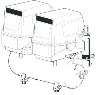 Cattani 2-Zylinder-Tandem-Kompressor mit 100l Tank 230 V 50 Hz mit Schallschutzhaube