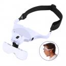 Lupenbrille mit 2 LED, 5 verschiedene Linsenstärken